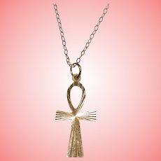 9 kt Gold Egyptian Ankh Cross Necklace