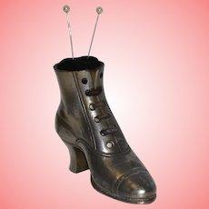 Pewter Victorian Shoe Hatpin Holder
