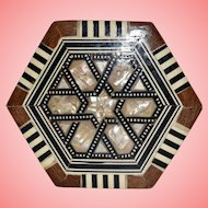 Vintage Wood Hexagonal Box with Mother of Pearl Inlay