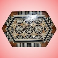 Wood Hexagonal Box with Mother of Pearl Inlay