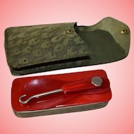 Victorian Pocket Shoe Grooming Kit in Ostrich Leather Case