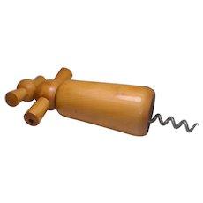 Vintage Rustic Wood Corkscrew