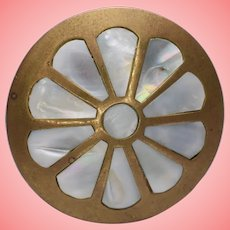 Vintage Brass and Mother of Pearl Inlaid Pill Box or Trinket Box