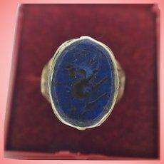 Islamic White Metal Signet Ring with Lapis Lazuli Intaglio