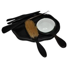 Vintage Ebony Wood 5 Piece Dressing Tablet Set Vanity Set