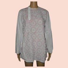 Vintage White Embroidered Ethnic Shirt Size UK 14 US 12