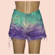 Vintage Levi's 501 Cut Off Deep Dyed Unicorn Denim Shorts Size UK 8