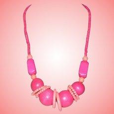 Vintage Hot Pink Wood Necklace