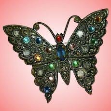 Vintage Czech White Metal Butterfly Rhinestones Brooch by CG 291