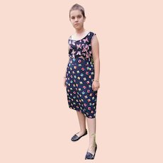 Vintage Diane Freis Georgette Navy Blue Geometric Skirt Size UK 8