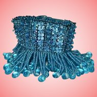 Vintage Blue Beaded Upper Arm Bracelet Armlet