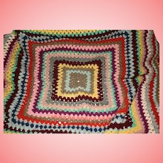 Crocheted Granny Handmade Colourful Blanket Throw