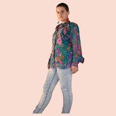 Vintage Diane Freis Multi Colour Floral Silk Shirt Size UK 8