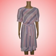 Vintage Purple Striped Dress Size UK 14 US 12 by Glamax