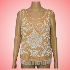 Vintage Flapper Tan and White Sequined Top Size UK 12 US 10