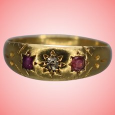 Victorian Edwardian 18k Gold Gents Gypsy Ring with Star Decoration