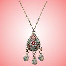 Art Deco Micro Mosaic Lavalier Necklace
