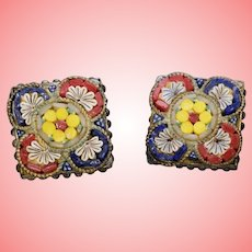 Art Deco Micro Mosaic Clip On Earrings