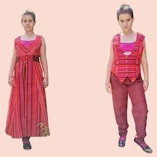 Vintage Diane Freis Burgundy 3 Piece Trousers Suit Size UK 8 US 6