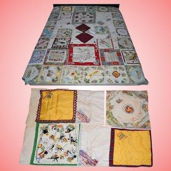 Vintage 60s Souvenir World Maps Handmade Patchwork Quilt and Pillowcase