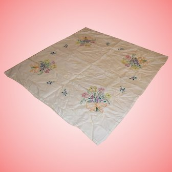 Vintage Hand Embroidered Colourful Cotton Table Cover
