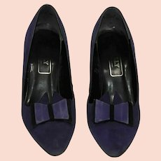 Vintage Bally Heels Purple Suede Leather Court Shoes