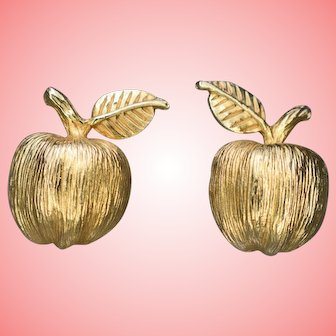 Edwardian Art Nouveau Gilt Screw Back Apple Earrings