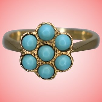 Victorian Revival 9 kt Gold and Turquoise Ring 3.2 grams