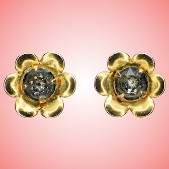 Vintage 9 kt Gold Flowers Stud Earrings 1.03 Grams