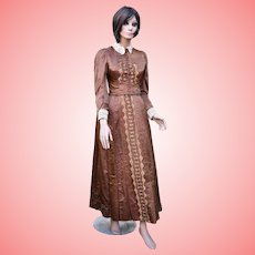 Late Victorian Chocolate Brown Silk Walking Dress