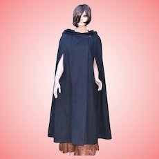 Vintage Black Hooded Wool Cloak by Caroline Harris Designs One Size