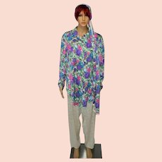 Vintage Diane Freis White Floral Pants Trousers Suit with Scarf Size UK 14