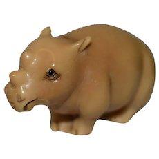 Tagua Nut Katabori Netsuke Rhino Figure Signed