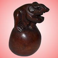 Wood Carved Netsuke in the Shape of a Rat on Sphere