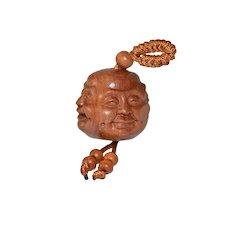 Boxwood Carved Netsuke The Faces of Buddha