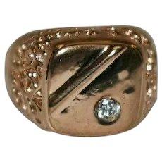 Gold Electroplated Men Signet Ring Rhinestone Filigree Ring Size R 3/4