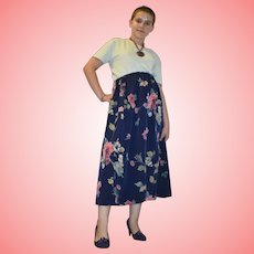 Vintage Blue Floral Midi Skirt from 1980