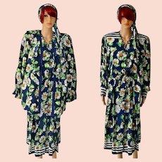 Vintage Diane Freis Silk Blue Daisies Dress Suit with Headscarf Size UK 14