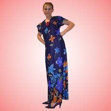 Vintage Blue Hawaiian Maxi Dress from 1960 Size UK 12