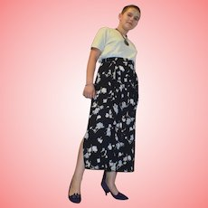 Vintage Floral Pleated Skirt by Basler