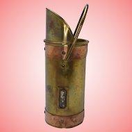 Vintage Brass and Copper Match Spill Holder With Striker