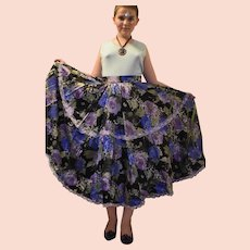 Vintage Hippy Floral Skirt from 1970 Size UK 6