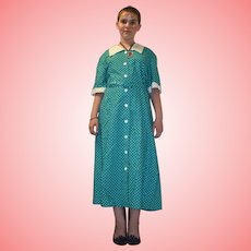 Vintage Polka Dots Dress with Belt Size UK 16