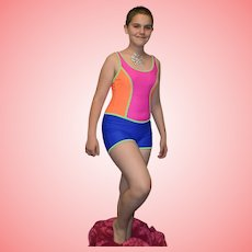 Vintage Neon Colour Block Swimsuit by Triumph International