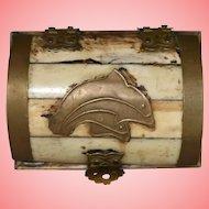 Vintage Brass and Camel Bone Trinket Box