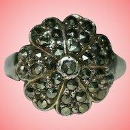 Vintage Silver Marcasite Flower Ring Size L 1/2 5.47 grams