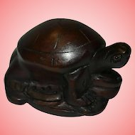 Japanese Brown Wood Netsuke Turtle Tortoise Figurine