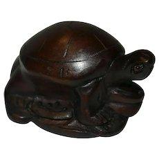 Japanese Brown Wood Netsuke Turtle Tortoise Figurine