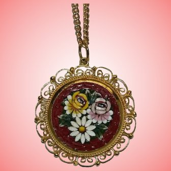 Vintage Micro Mosaic Flower Necklace