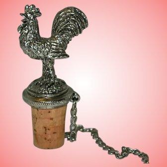 Vintage Pewter and Cork Rooster Hen Wine Bottle Stopper